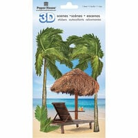 Paper House Productions - 3D Scenes - 3 Dimensional Cardstock Stickers with Glitter Accents - Tropical Beach