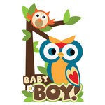 Paper House Productions - 3 Dimensional Stickers with Glitter Accents - Baby Boy Scene