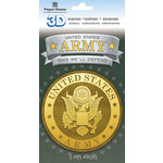 Paper House Productions - 3 Dimensional Stickers with Foil Accents - Army Emblem Scene