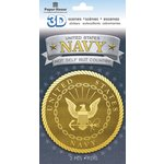 Paper House Productions - 3 Dimensional Cardstock Stickers - Navy Emblem