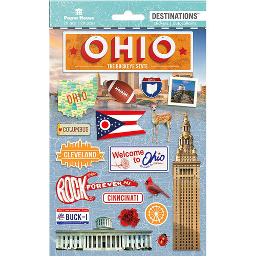 Paper House Productions - Destinations and Essentials Collection - Cardstock Stickers with Foil and Glitter Accents - Travel - Ohio