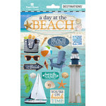 Paper House Productions - Destinations and Essentials Collection - Cardstock Stickers with Foil and Glitter Accents - Travel - Beach