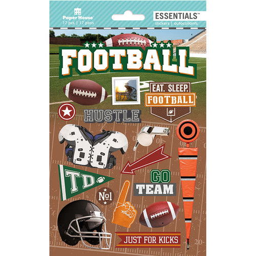 Paper House Productions - Destinations and Essentials Collection - Cardstock Stickers with Foil and Glitter Accents - Football