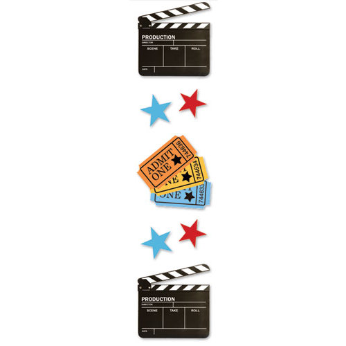 Paper House Productions - Movies Collection - 3 Dimensional Cardstock Stickers - Movie Night