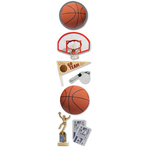 Paper House Productions - Basketball Collection - 3 Dimensional Cardstock Stickers - Basketball