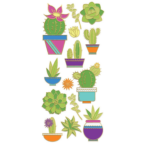 Paper House Productions - StickyPix - Faux Enamel Stickers - Succulent with Foil Accents