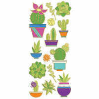 Paper House Productions - StickyPix - Faux Enamel Stickers - Succulent with Foil Accents