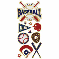 Paper House Productions - StickyPix - Faux Enamel Stickers - Baseball with Foil Accents