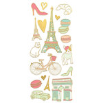 Paper House Productions - StickyPix - Faux Enamel Stickers - Paris with Foil Accents