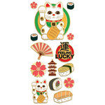 Paper House Productions - StickyPix - Faux Enamel Stickers - Lucky Cat with Foil Accents