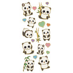 Paper House Productions - StickyPix - Faux Enamel Stickers - Pandas with Foil Accents