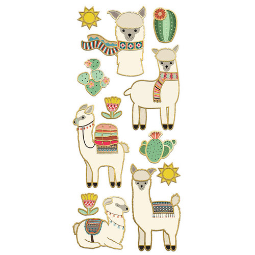 Paper House Productions - StickyPix - Faux Enamel Stickers - Llamas with Foil Accents