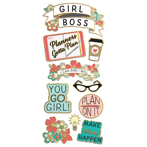 Paper House Productions - StickyPix - Faux Enamel Stickers - Girl Power with Foil Accents