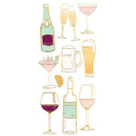Paper House Productions - StickyPix - Faux Enamel Stickers - Cocktails with Foil Accents