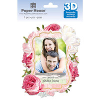 Paper House Productions - 3 Dimensional Layered Cardstock Keepsake Sticker - Floral with Glitter Accents