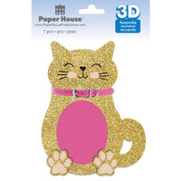 Paper House Productions - 3 Dimensional Layered Cardstock Keepsake Sticker - Cat with Glitter Accents
