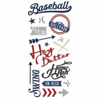 Paper House Productions - All Star Collection - Baseball - Puffy Stickers - Hey Batter