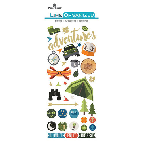 Paper House Productions - Life Organized Collection - Puffy Stickers - Outdoors with Foil Accents