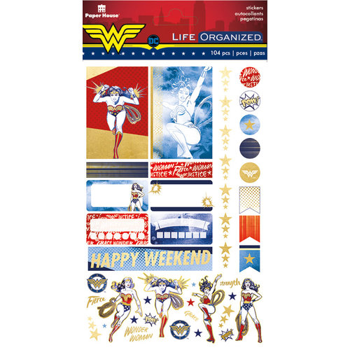 Paper House Productions - Life Organized Collection - Planner Stickers - Wonder Woman with Foil Accents