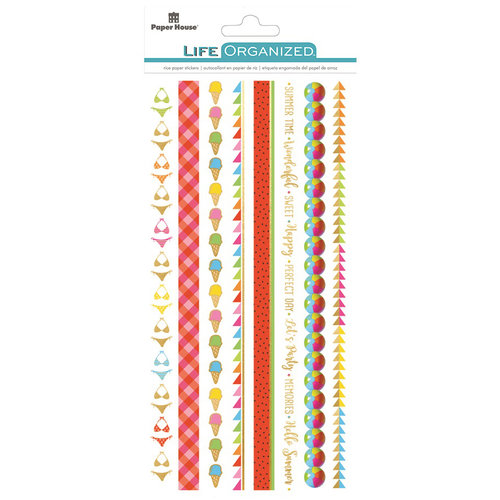 Paper House Productions - Life Organized Collection - Rice Paper Stickers - Borders - Summer Fun