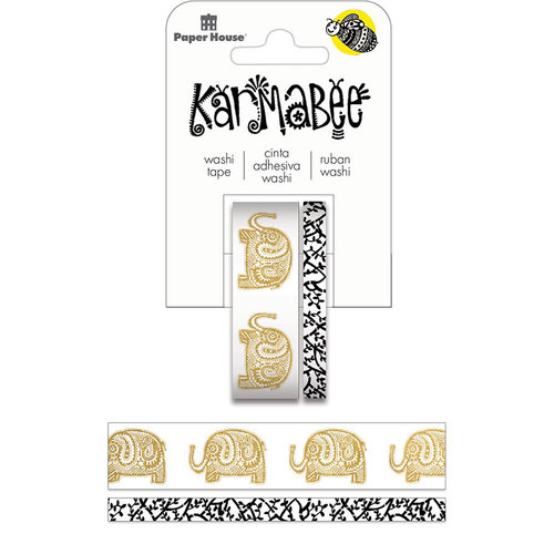 Paper House Productions - StickyPix - Washi Tape - Elephants with Foil Accents