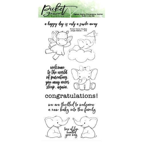 Picket Fence Studios - Clear Photopolymer Stamps - Jungle Babies