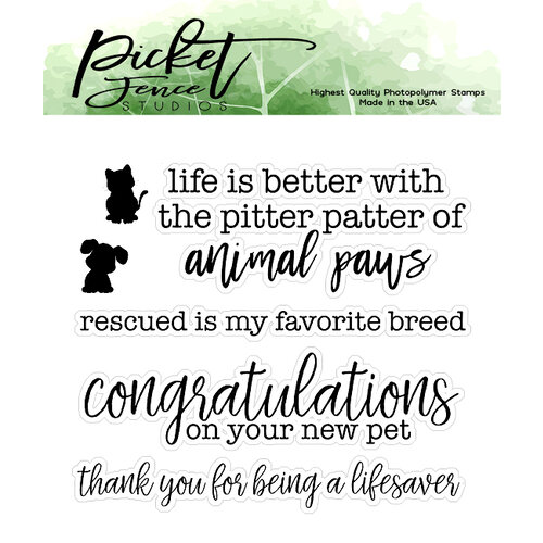 Picket Fence Studios - Clear Photopolymer Stamps - Rescued is my Favorite Breed