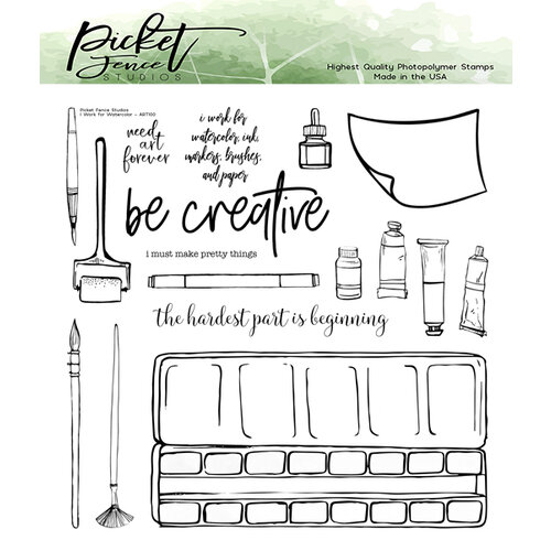 Picket Fence Studios - Clear Photopolymer Stamps - I Work For Watercolor