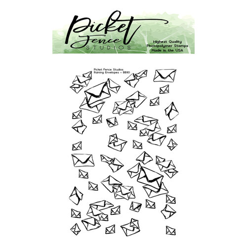 Picket Fence Studios - Clear Photopolymer Stamps - Raining Envelopes