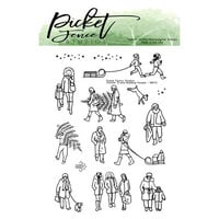 Picket Fence Studios - Clear Photopolymer Stamps - Winter Scene Building People