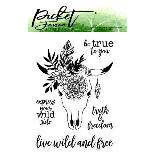 Picket Fence Studios - Clear Photopolymer Stamps - Boho Bull