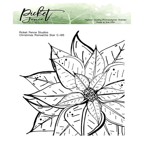 Picket Fence Studios - Clear Photopolymer Stamps - Christmas Poinsettia Star