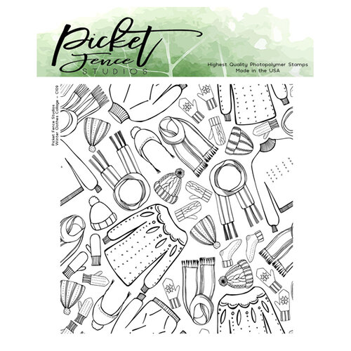 Picket Fence Studios - Clear Photopolymer Stamps - Winter Clothes Collage