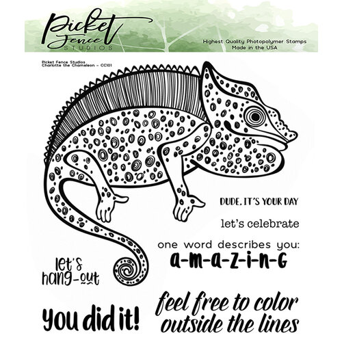 Picket Fence Studios - Clear Photopolymer Stamps - Charlotte The Chameleon