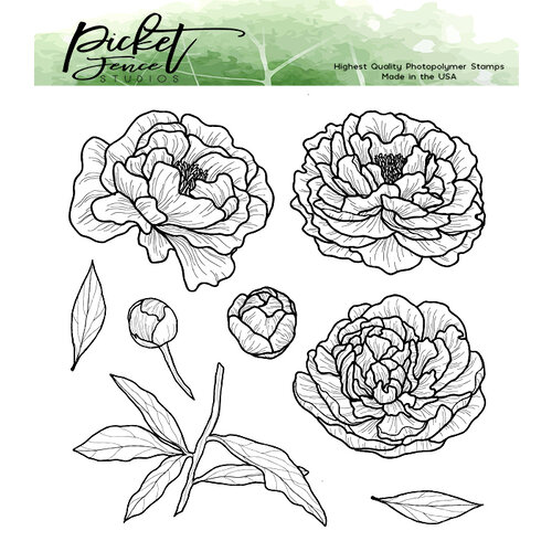 Picket Fence Studios - Clear Photopolymer Stamps - Peony Bouquet