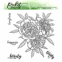 Picket Fence Studios - Clear Photopolymer Stamps - Ruffled Peony Bouquet