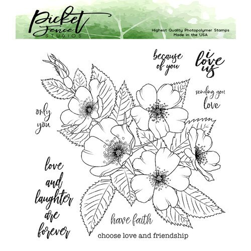 Picket Fence Studios - Clear Photopolymer Stamps - Wild Rose Bouquet