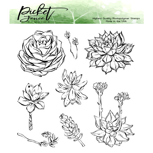 Picket Fence Studios - Clear Photopolymer Stamps - Succulent Blossoms