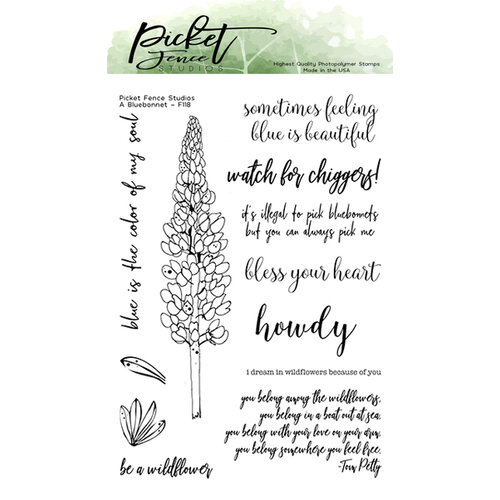 Picket Fence Studios - Clear Photopolymer Stamps - A Bluebonnet
