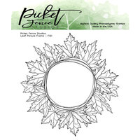 Picket Fence Studios - Clear Photopolymer Stamps - Leaf Picture Frame