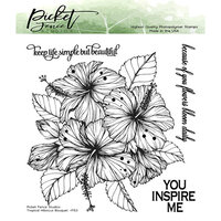 Picket Fence Studios - Clear Photopolymer Stamps - Tropical Hibiscus Bouquet