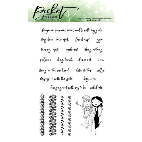 Picket Fence Studios - Clear Photopolymer Stamps - Planner Girls Selfie Love