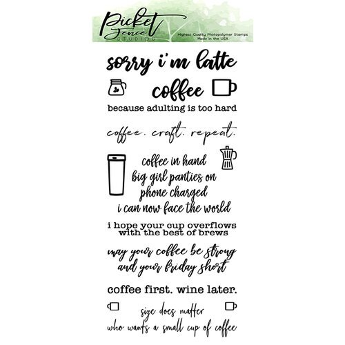 Picket Fence Studios - Clear Photopolymer Stamps - Coffee in Hand