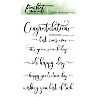 Picket Fence Studios - Clear Photopolymer Stamps - Fancy Congratulations Sentiments