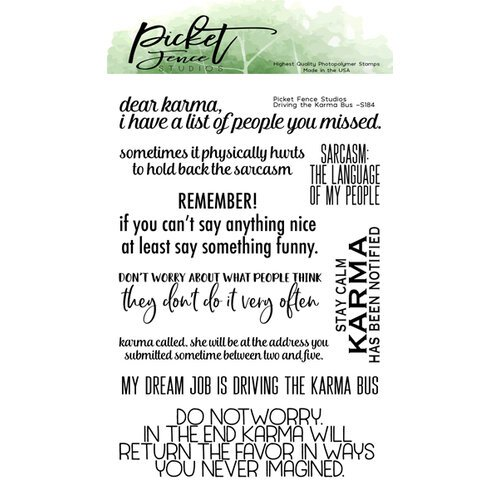 Picket Fence Studios - Clear Photopolymer Stamps - Driving The Karma Bus