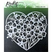 Picket Fence Studios - Stencil - Heart of Flowers