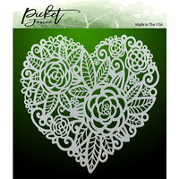 Picket Fence Studios - Stencil - Flowers in a Heart