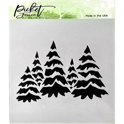 Picket Fence Studios - 6 x 6 Stencil - Field of Snowy Trees