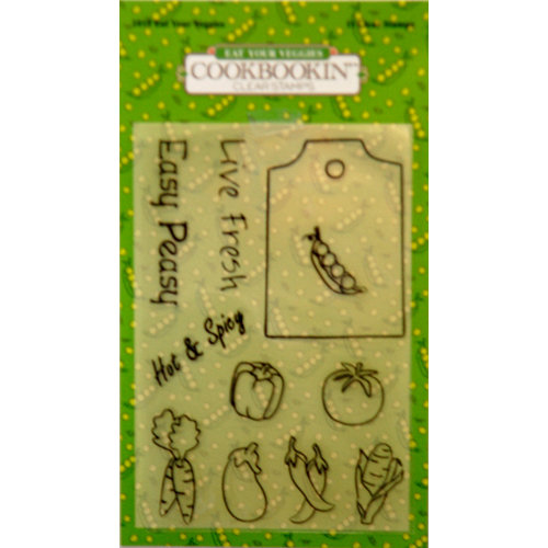 PJK Designs - Cookbookin' - Modern Market Collection - Clear Acrylic Stamps - Eat Your Veggies