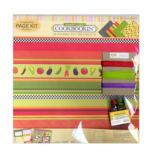 PJK Designs - Cookbookin' - Modern Market Collection - 12 x 12 Page and Project Kit - Eat Your Veggies, CLEARANCE